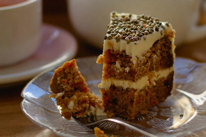 Hemp Seeds on Carrot Cake