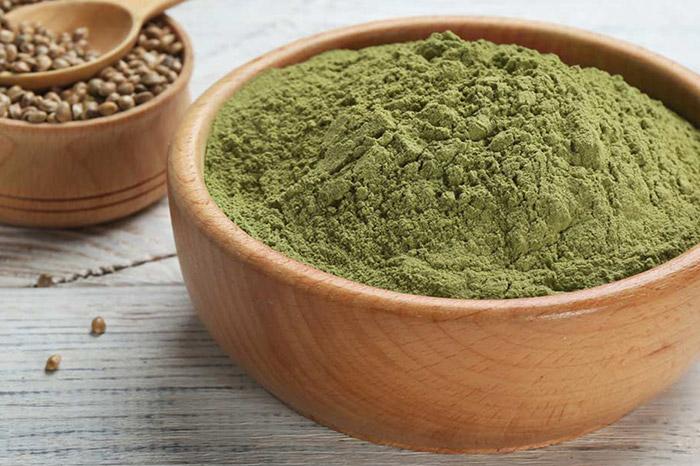Hemp protein powder in a bowl