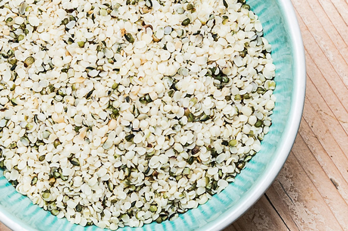 Hulled hemp seeds in a bowl